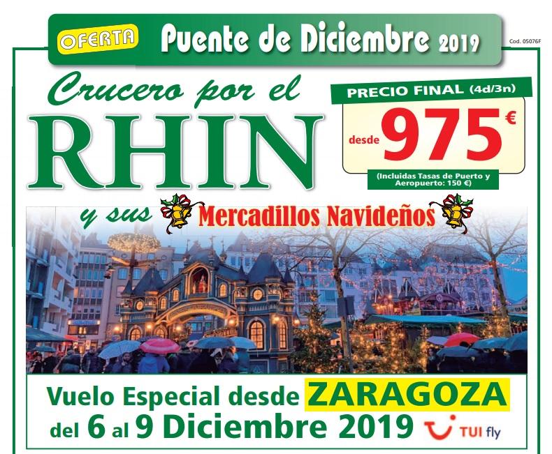 Crucero por el Rhin y  Mercadillos Navideños desde Zaragoza
