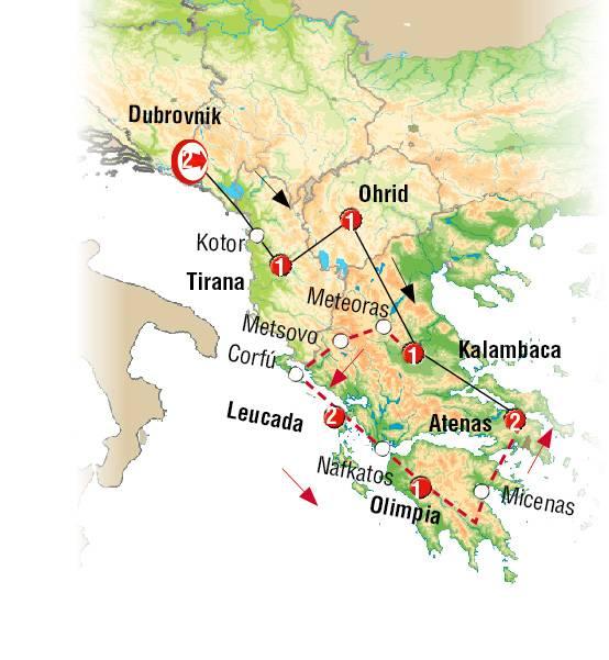 Roteiro, Circuito de 11 dias em AUTOCARRO por Dubrovnik Corfu e Atenas com saida de Dubrovnik ás SEXTAS FEIRAS