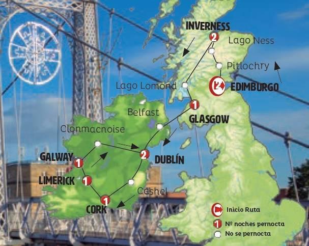 Roteiro de 11 dias em AUTOCARRO por ESCOCIA E IRLANDA Saida de Edimburgo ás SEXTAS