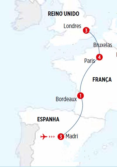 Circuito de 12 dias, Madri, Paris e Londres, saídas Domingos todo o ano