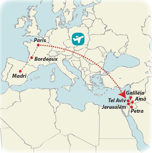 Circuito de 18 dias Madri, Paris com Terra Santa e Jordânia, saídas aos domingos