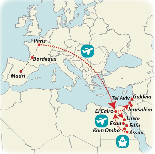 Circuito de 22 dias Madri, Paris e Egito com Israel, saídas aos domingos todo o ano
