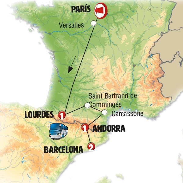París, Lourdes, Andorra y Barcelona