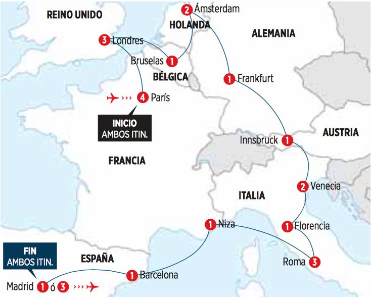 Circuito de 26 dias desde PARIS por EUROPA UNICA I salida en AUTOCAR