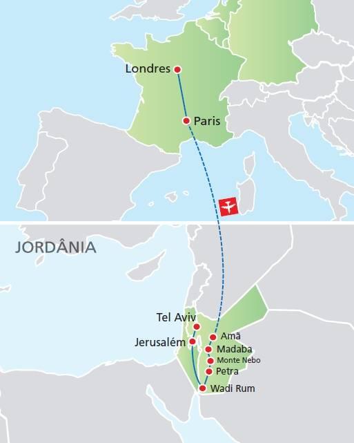 Circuito de 14 dias, Londres e Paris com Jordânia e Jerusalém, saídas segundas todo o ano