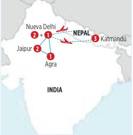 CIRCUITO INDIA - NEPAL, RECORRIDO 10 DIAS 9 NOCHES, DESDE NUEVA DELHI, SLAIDAS DIARIAS