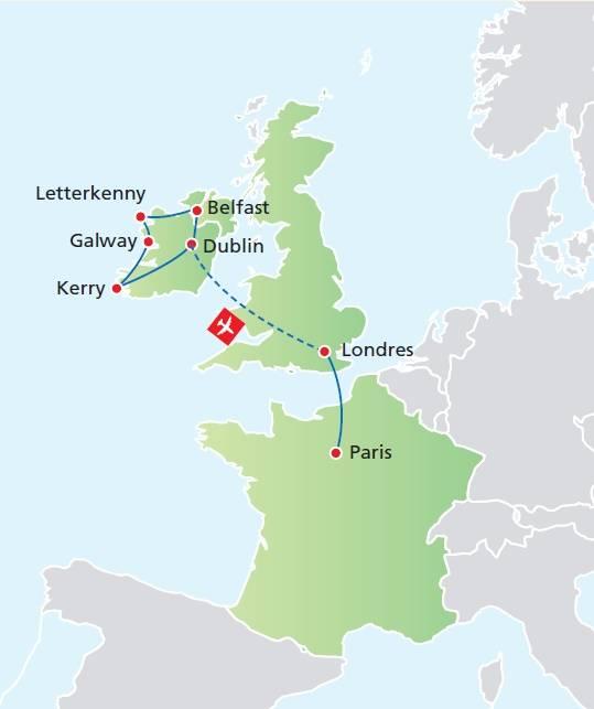Circuito de 15 dias, Paisagens da Irlanda com Londres e Paris, saídas de Junho a Setembro