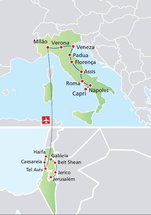 Circuito de 15 dias TERRA SANTA + ITÁLIA, saídas segundas todo o ano