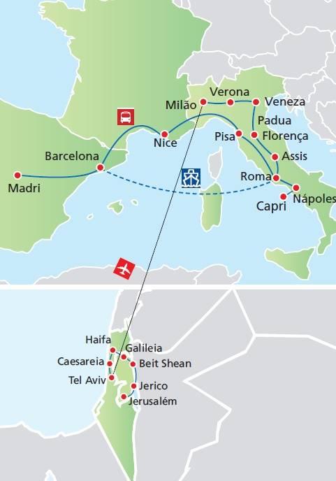 Circuito de 19 dias TERRA SANTA + ITÁLIA E ESPANHA, saídas segundas todo o ano