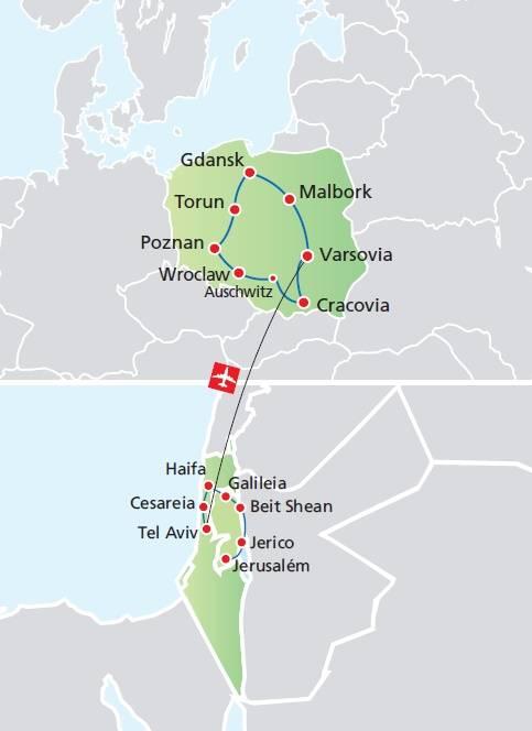 Circuito de 16 dias TERRA SANTA + POLÔNIA, saídas segundas de Junho a Setembro
