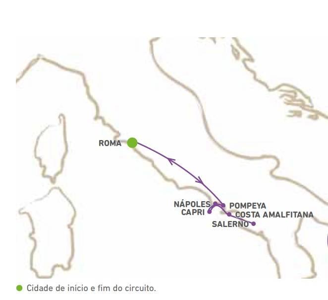 Circuito de 8 dias, Roma-Napoles-Costa Amalfitana, saidas domingos de Maio a Outubro