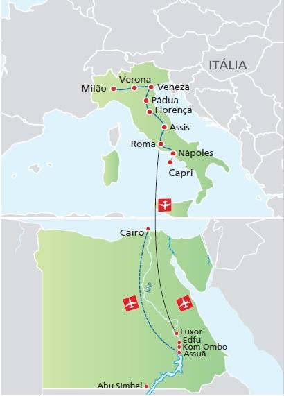 Circuito de 15 dias, ITÁLIA SONHADA + EGITO, saídas segundas o ano todo