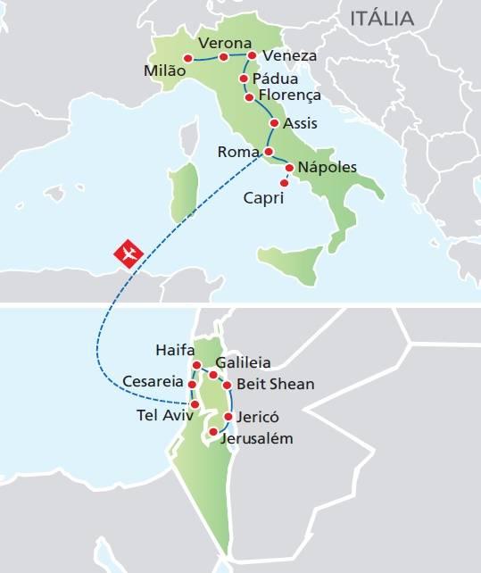 Circuito de 15 dias, Itália Sonhada e Terra Santa, saídas ás segundas todo o ano
