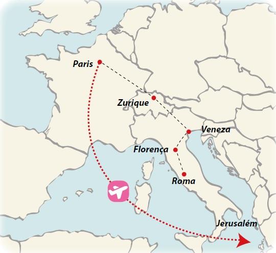 Circuito de 17 dias Flashes da Europa com Terra Santa, saídas ás terças todo o ano