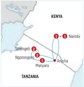 GRAN CIRCUITO POR KENYA - TANZANIA/ SAFARI MANYARA DE 8 DIAS. Desde NAIROBI y Opc. desde Arusha