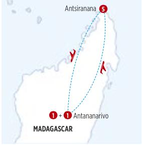 GRAN CIRCUITO POR MADAGASCAR: NORTE COLORIDO, recorrido de 8 días, 7 noches INCLUYE TRAYECTO EN AVION