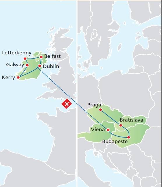 Circuito de 15 dias, Praga Budapeste e Viena com Paisagens da Irlanda, saídas domingos de Junho a Setembro