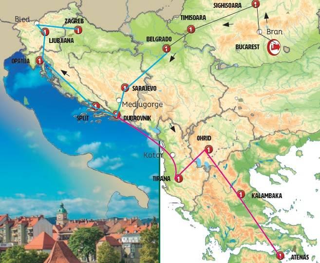 Circuito de 12 dias de ónibus Cores dos Balcãs com Eslovénia, saídas aos domingos