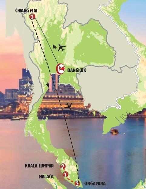 Circuito de 12 dias de ônibus Tailândia, Cingapura e Malásia, saídas domingos todo o ano