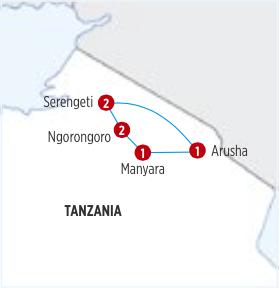 Gran Circuito SOBREVOLANDO TANZANIA (Safari Privado) por 12 días de recorrido, CON TRAYECTO EN AVIÓN Serengeti / Arusha